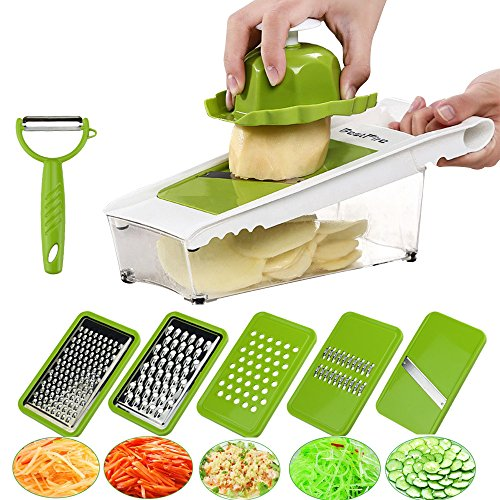 BestFire Adjustable Mandoline Slicer Vegetable Slicer Grater Cutter Chopper Julienne Slicer Food Slicer with 5 Interchangeable Stainless Steel Blades Food Container Safety Holder Vegetable Peeler