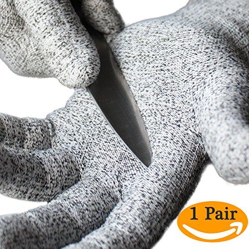 Cut Resistant Gloves for Knife Mandoline Slicer Grater Dyneema Gloves Food Safe Thin Breathable Anti-Static Cut Proof Gloves Level 5 Cut Protection CE EN388 1 par Size Large