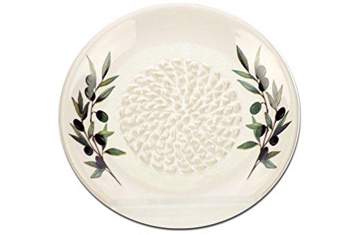 White Ceramic Garlic Grater Plate - Olive Branch Design
