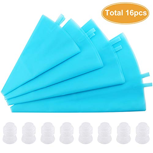 DLOnline 8 Pcs Silicone Pastry Bags with 8 Icing Couplers 4 Sizes Reusable Icing Piping Bags Baking Cookie Cake Decorating Bags For Cupcake Decorating 10121416 Decorating Icing