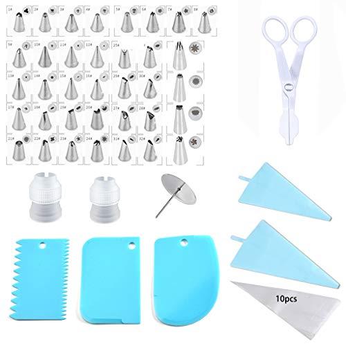 56 Pcs Cake Piping Tips Set Cake Decorating Supplies Kit - Icing Piping Bags and Tips Cupcake Decorating Kit