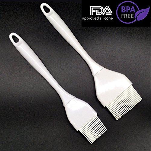 Silicone Pastry Brushes - Grill Basting Brushes Set of 2 Heat Resistant Basting Brush Set Elegantly Designed  Dishwasher Safe Large  Small Sizes Perfect For Baking Grilling Basting Marinating