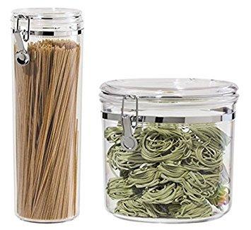 Acrylic Airtight Pasta Canister Set One 130-ounce 8 X 8 and One 58-ounce 4 X 12