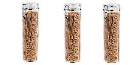 Oggi Acrylic Airtight Pasta Canister with Clamp 4Dia x 12H 3 - pack