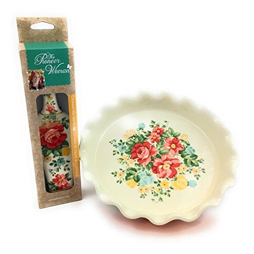 9 Ruffle Top Stoneware Pie Pan With Ceramic Pie Server Pioneer Woman Bundle