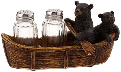 Black Bear Canoe Salt Pepper Holder