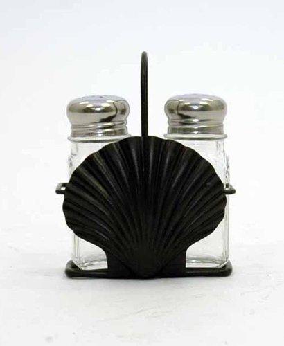 Seashell Iron Holder w Glass Salt and Pepper Shakers 4 X 55 X 2