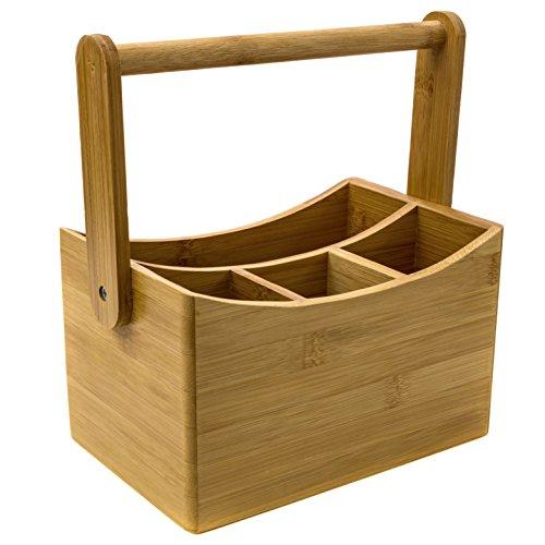 Huswell Bamboo Cutlery Flatware Caddy