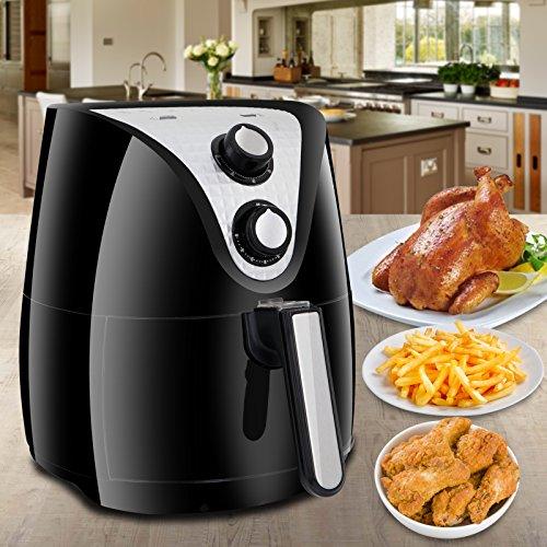 SUPER DEAL 1500W Electric Air Fryer 37 Quart W Timer Temperature Control  Detachable Basket Handles Free Oil 02