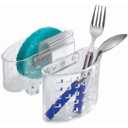 InterDesign Kitchen Sink Protector Flatware Organizer and Sponge Holder Clear