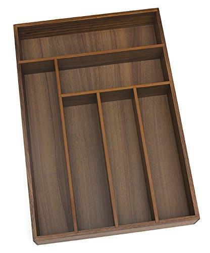 Lipper International 1078 Acacia Deep Flatware Organizer with 6 Compartments