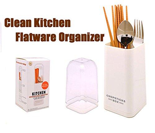 Mkono Clean Kitchen Flatware Organizer Caddy Cutlery Utensil Holder with Cover White