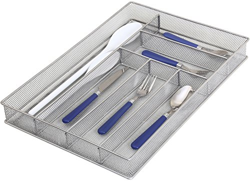 Ybm Home Silver Mesh Cutlery Holder In-drawer Utensil Flatware Organizertray Size 16 By 11-14 By 2 Inches 1132 6-compartment Large