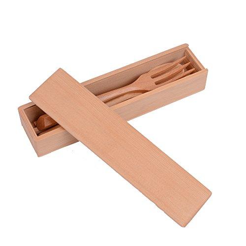Sea Quiet Natural Wooden Flatware Sets 4-Piece Set wooden Flatware Fork chopsticks Spoon and Wooden box