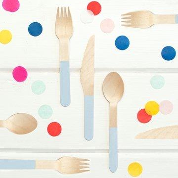 Utensils Wooden Flatware 8 Complete Birch Wood Cutlery Sets Blue