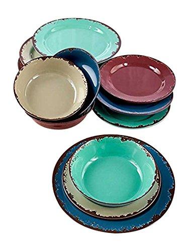 12-Pc Rustic Melamine Dinnerware Set