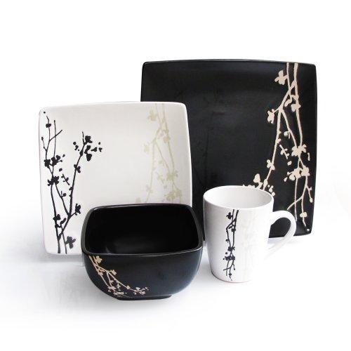 American Atelier 6027-16bw Twilight Blossom 16-Piece Dinnerware Set Black