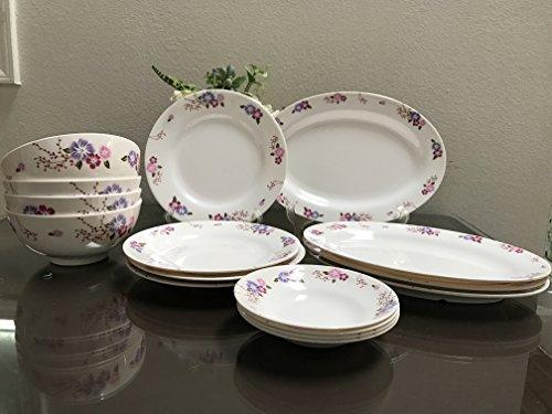 16 Piece Melamine Dinnerware Set Flower V212
