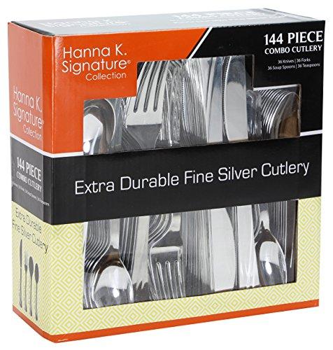Plastic Cutlery Silverware Heavyweight Disposable Flatware Plastic Cutlery Like Silver Combo Pack