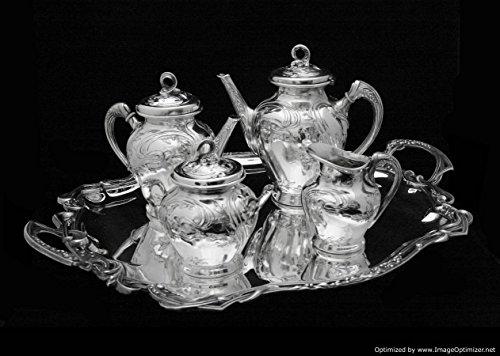 Original Antique Art Nouveau Silver Plated Tea Set with Serving Tray