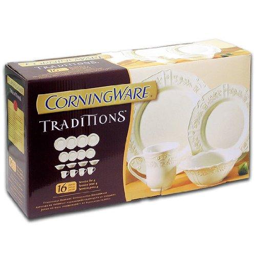 Corningware Traditions White Stoneware 16 Piece Dishware Set Service for 4