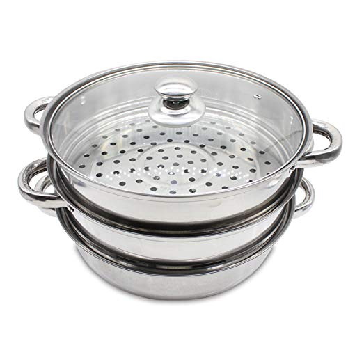 PloybeeShop 3 Stainless Steel Tier Steamer Vegetable Meat Pot Cookware Concord Set Premium Kitchen Cooking Food Steam Induction Steaming Avail Cooking