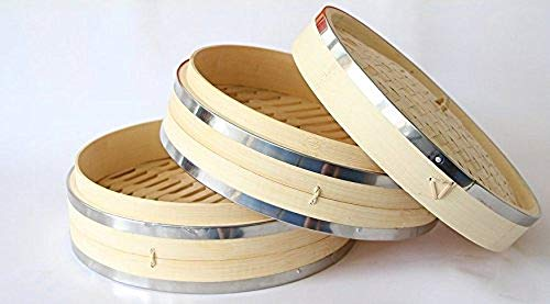 Signature Chef Bamboo Steamer 10 inch 2 Tier with Lid Stainless Steel Banding