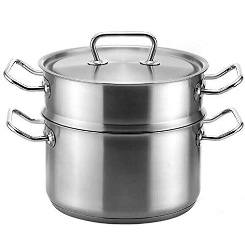 Soup pot steamer two-tier steamer steamer 2 piece set 24cm steam pot home stainless steel pot