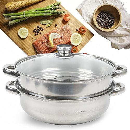 Stainless Steel 2 Tier Steamer Pot Cookware Steam Kitchen Cooking  Glass lid