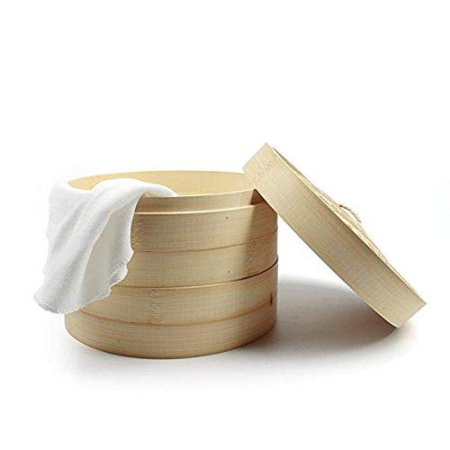XMYZ Kitchen Set 2 Tiers Handicraft Bamboo Steamer with 2 Piece of Steamer Cloth
