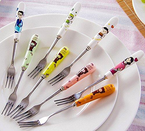 Kids Ceramic Handle Stainless steel Dinner Fork Cutlery Flatware Utensil Set for 8
