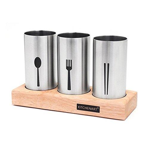 KitchenART Modern Stainless Steel 3pcs Cutlery Holder
