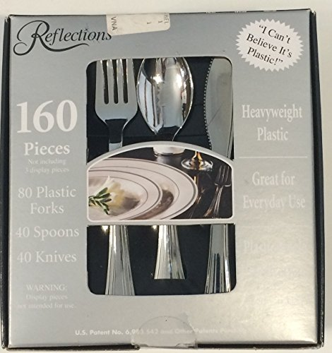 Reflections Heavyweight Looks Like Silver Disposable Flatware 160 Piece