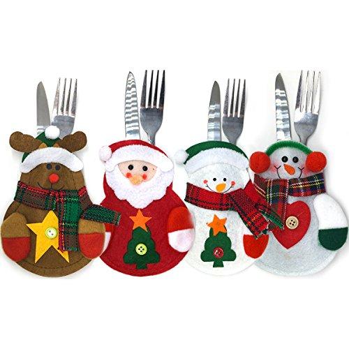 Set of 4 Christmas Silverware Decor Holder Cutlery Holders Christmas Dinner Flatware Holder Pockets Style 01