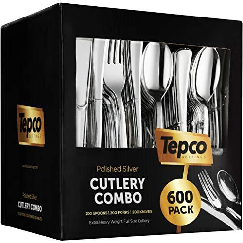 600 Plastic Silverware Set - Silver Plastic Cutlery Set - Disposable Silverware Set - Flatware Set - 200 Plastic Silver Forks - 200 Silver Spoons - 200 Plastic Silver Knives - Heavy Duty - Party Bulk