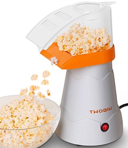 TWOBIU Popcorn Machine Popcorn Maker Hot Air Popcorn Popper with FDA Approved - Orange