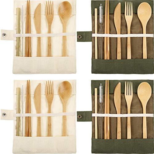 Tatuo 4 Set Bamboo Utensils Flatware Bamboo Travel Cutlery Set Reusable Bamboo Fork Spoon Knife Chopsticks Straws Metal Brush Army Green Beige