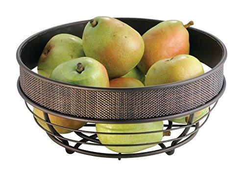 mDesign Fruit Bowl for Kitchen Countertops - Bronze