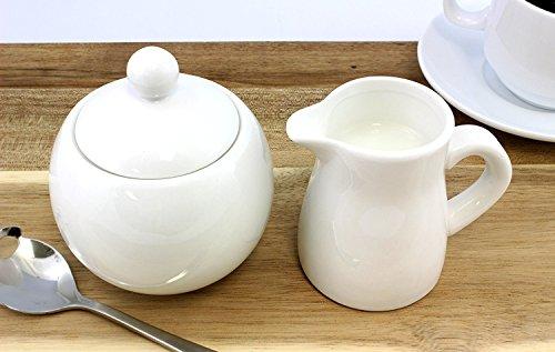 White Ceramic Cream Sugar 2-Piece Serving Set for Coffee Tea Elegant Affordable Pitcher and Sugar Bowl Stoneware Set
