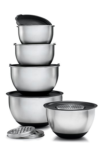 Sagler Stainless Steel Mixing Bowls Set of 5 with Lids and 3 kind of graters