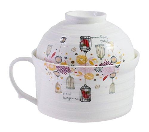 JustNile Imported Double Porcelain Instant Noodle Bowl Tea Coffee Milk Cup Mug with Handle