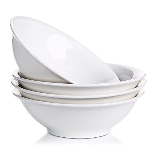 Lifver 28-Oz Porcelain CerealSoupNoodle Bowl Natural WhiteSet of 4
