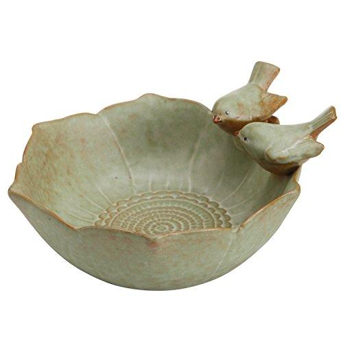 Decorative 2 Birds Garden Design Ceramic Green Serving Bowl  Jewelry Tray  Candy Nut Dish - MyGift