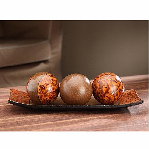 Hosleys Elegant Expressions Brown Decorative Bowl and Orb Set 1