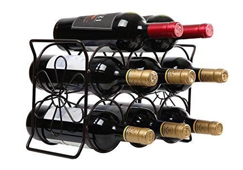 Finnhomy 6 Bottle Wine Rack with Flower Pattern Wine Bottle Holder Free Standing Wine Storage Rack 2-way Storage Original Design Patent Pending Iron Brozen