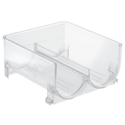 InterDesign Stackable Wine Storage Rack – Free Standing Organizer for Refrigerator or Kitchen Countertops - Holds 2 Bottles Clear
