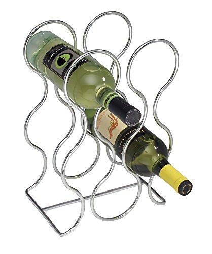 mDesign Free Standing Wine Storage Rack for Kitchen Countertops - Holds 6 Bottles Chrome