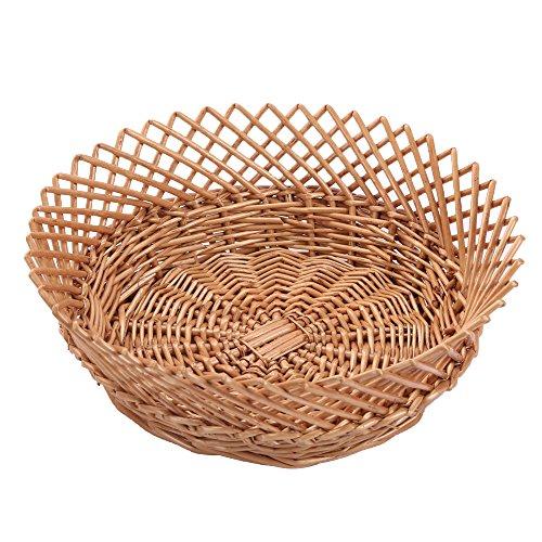 Kingwillow Wicker Basket Fruit Basket Bread Tray Storage Basket Fruit bowl Round Stackable Basket Light weight  2 Pieces