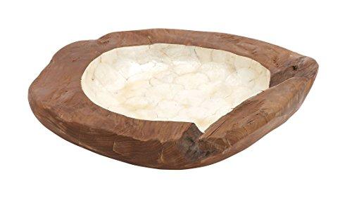 Woodland Imports High Quality Teak Wood Bowl with Spectacular Shaped Large