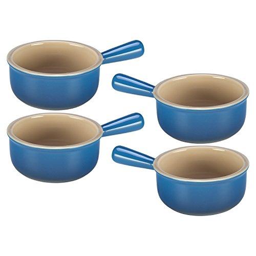 Le Creuset Marseille Blue Stoneware French Onion Soup Bowl Set of 4
